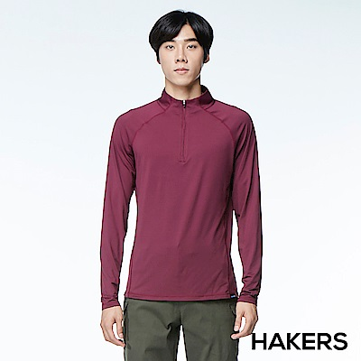 【HAKERS】男款 半開襟舒適排汗衫(酒紅)