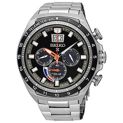 SEIKO精工 Prospex動力顯示太陽能計時腕錶(SSC603P1)-黑/44.9mm