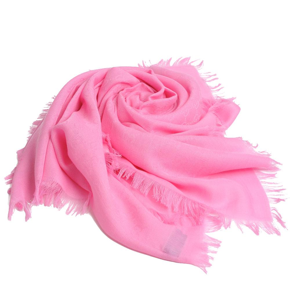 GUCCI SL GG LOGO 高質感棉質造型正方形圍巾(418222/粉紅系)GUCCI