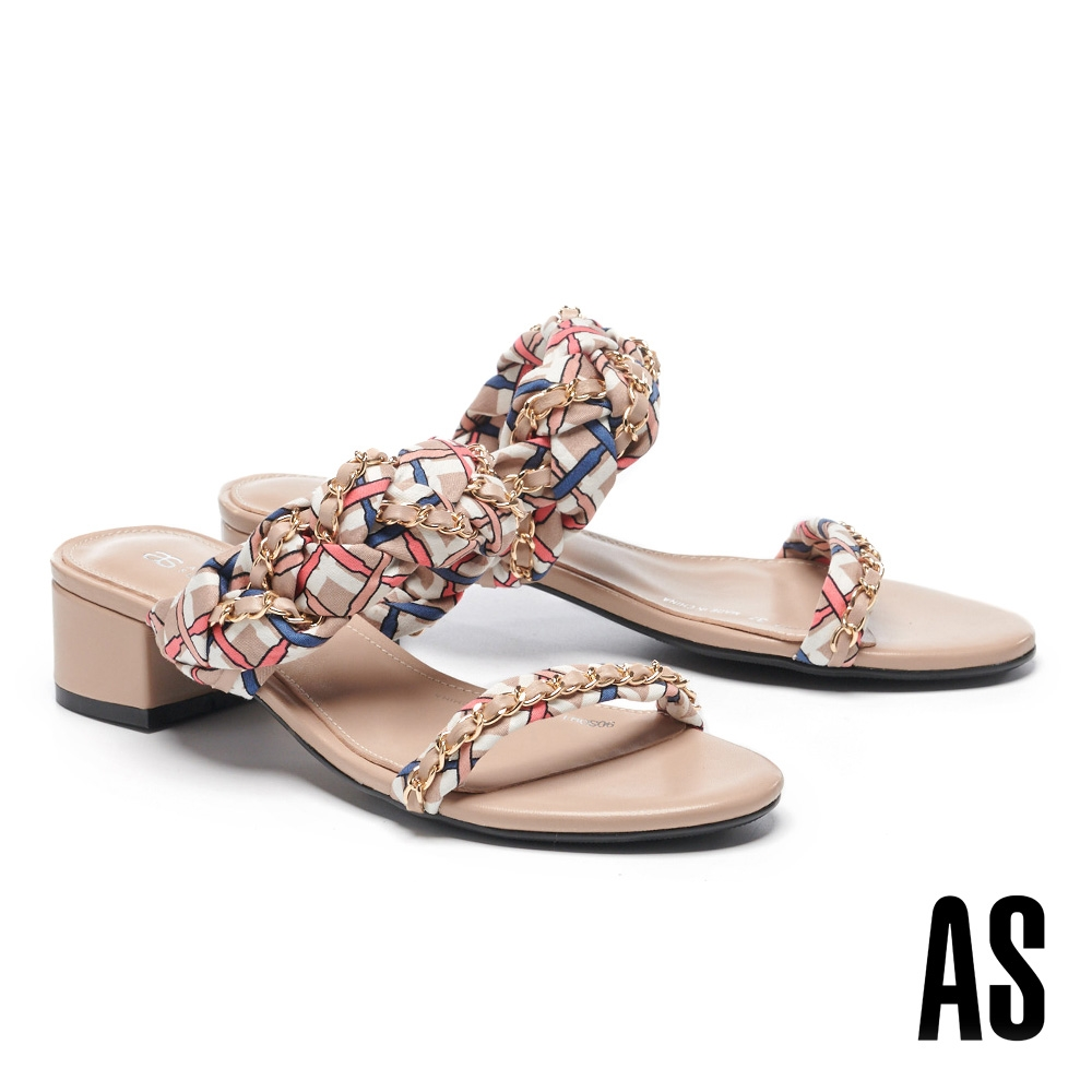 拖鞋 AS 法式優雅金屬鏈條方格布羊皮一字低跟拖鞋-米