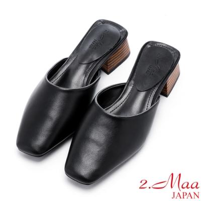 2.Maa 極簡設計小方頭低跟穆勒鞋 - 黑