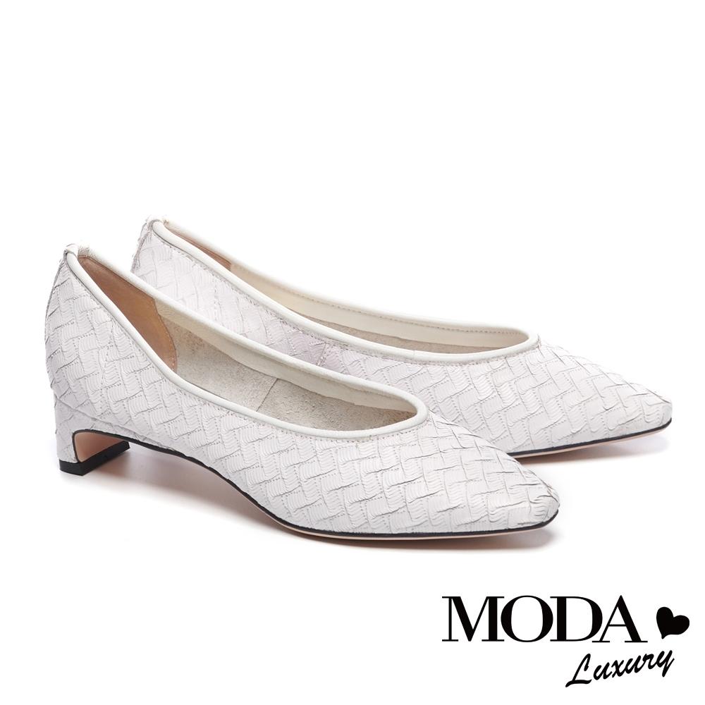 低跟鞋 MODA Luxury 簡約復古編織牛花皮低跟鞋-白