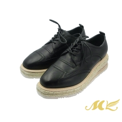 MK-中性復古紳士風真皮厚底德比鞋-黑色 (兩色)