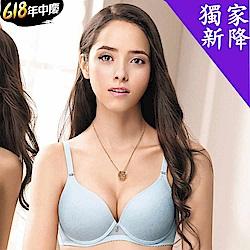 華歌爾 輕透記形 BRA D-E 罩杯內衣(清爽藍)