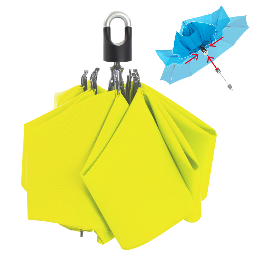 雙龍TDN 收的妙 一按秒收玻璃纖維反向傘-螢光綠