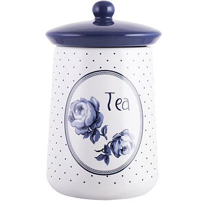 CreativeTops Katie復古藍茶葉陶製密封罐(圓點白)