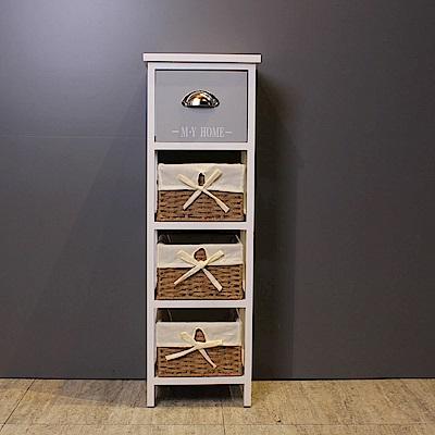 Asllie貝拉一抽三籃隙縫收納櫃/床頭櫃/邊櫃(免組裝)