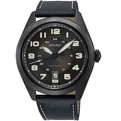 SEIKO精工飛行風格時尚機械錶(SRPC89J1)-黑皮