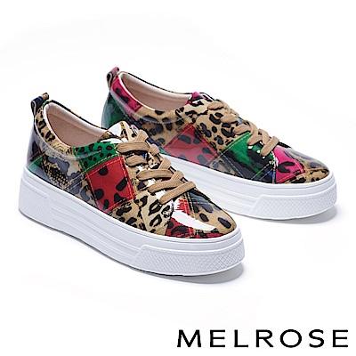 休閒鞋 MELROSE 個性潮感色塊拼接綁帶全真皮厚底休閒鞋-紅