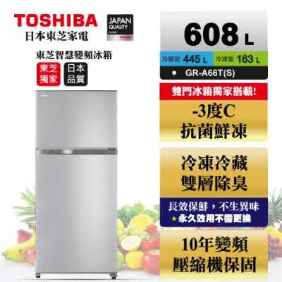 (限時賣場)TOSHIBA東芝 608L 1級變頻2門電冰箱 GR-A66T(S)