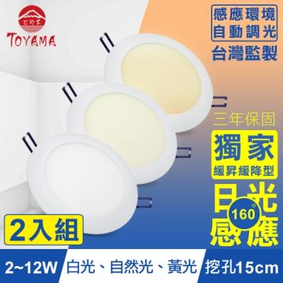 TOYAMA特亞馬 2-12W超薄LED日光感應自動調光節能崁燈(3色任選)x2件
