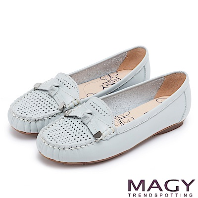 MAGY 經典甜美舒適 牛皮洞洞平結平底鞋-淺藍