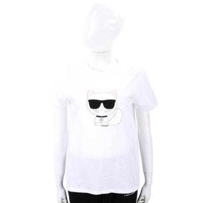 Karl Lagerfeld Choupette 水鑽墨鏡邱比特貓白色短袖T恤