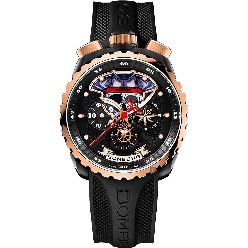 Bomberg 炸彈錶 Bolt-68 系列 海盜骷髏船長特別版計時碼錶-45mm