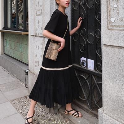 2F韓衣-簡約素色細條造型百褶洋裝-2色(S-L)
