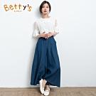 betty's貝蒂思 鬆緊腰圍牛仔褲裙(深藍)
