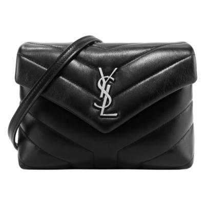 YSL Saint Laurent 牛皮Y字縫線厚皮層翻蓋斜背包(銀x黑)