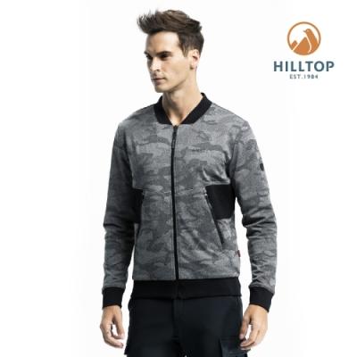 【hilltop山頂鳥】男款雙面穿彈性保暖迷彩夾克H24MJ9深灰