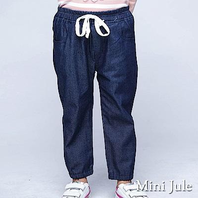 Mini Jule 長褲 綁帶前雙口袋造型鬆緊腰頭褲口牛仔褲(深藍)