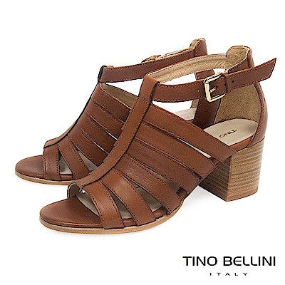 Tino Bellini 義大利進口牛皮羅馬線條高跟涼鞋_ 棕
