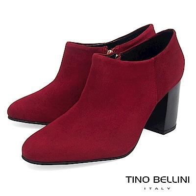 Tino Bellini 巴西進口純色極簡線條高跟踝靴 _ 紅