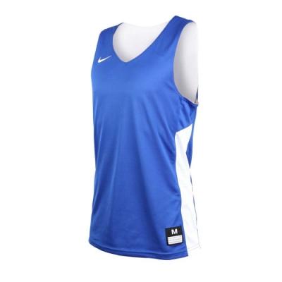 NIKE 男雙面籃球針織背心-無袖背心 慢跑 路跑 健身 訓練 藍白