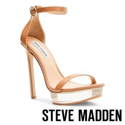 STEVE MADDEN-CELEBRITY 時尚透明前台繞踝細帶高跟涼鞋-棕色