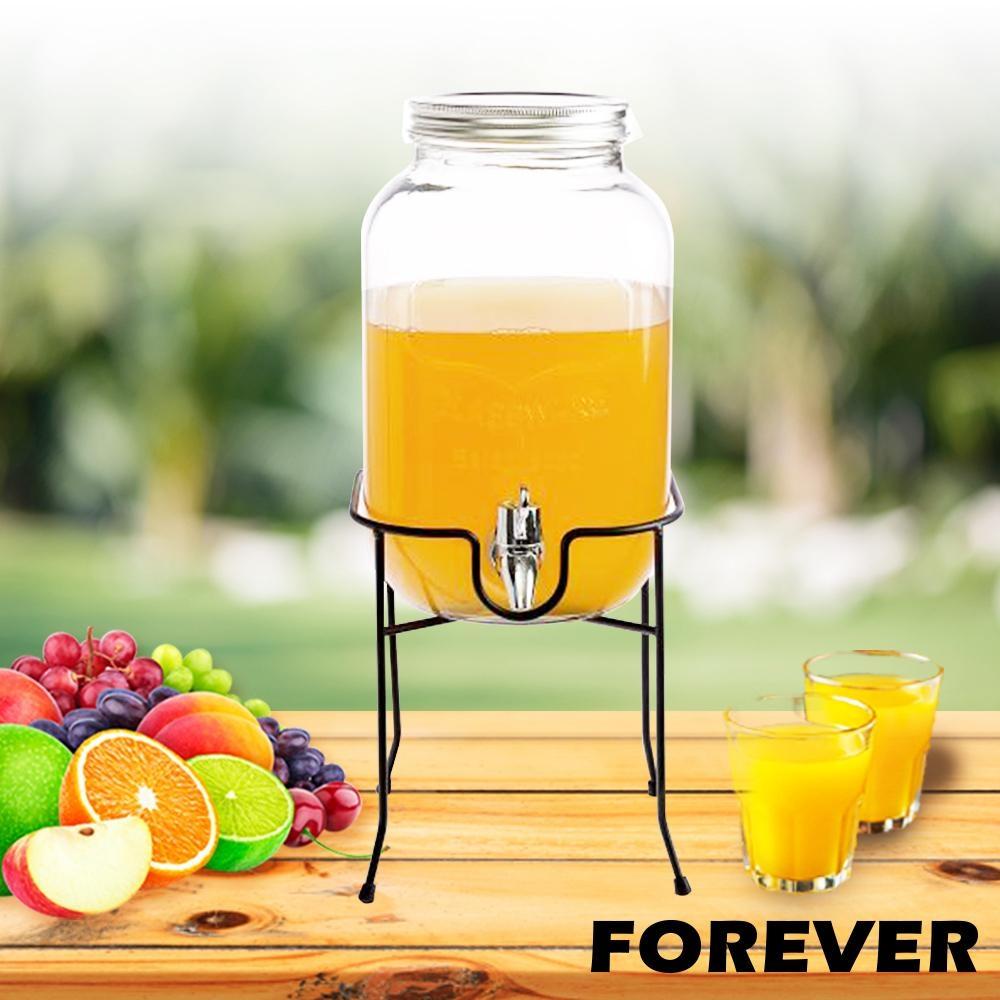 日本FOREVER 夏天必備派對玻璃果汁飲料桶(含桶架)4L