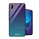 VXTRA vivo NEX 玻璃鏡面防滑全包保護殼(極光藍)
