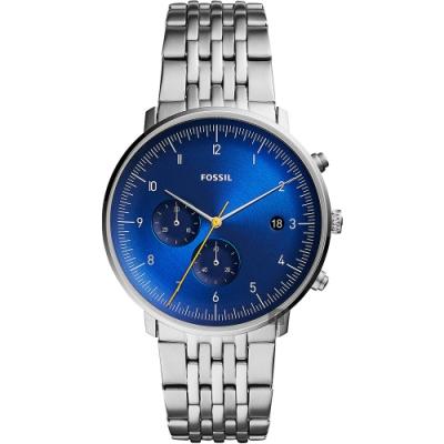 FOSSIL Chase Timer 新時代計時手錶(FS5542)-藍x銀/42mm