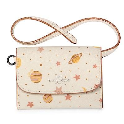 COACH 繽紛星象圖案PVC防刮皮革證件零錢手挽包-米白色