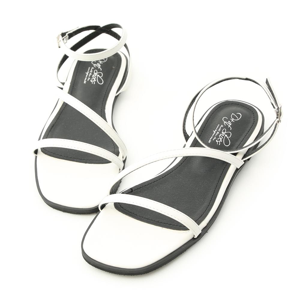 D+AF 完美品味.一字斜帶繫踝平底涼鞋*白
