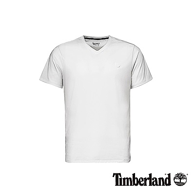 Timberland 男款白色圓標V領短袖T恤