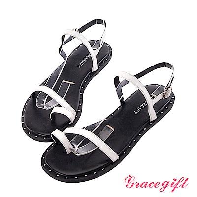 Grace gift-一字金屬釘飾套趾涼鞋 白