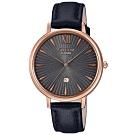 SHEEN 簡約雅致藍寶石設計皮帶腕錶-黑(SHE-4534PGL-1A)