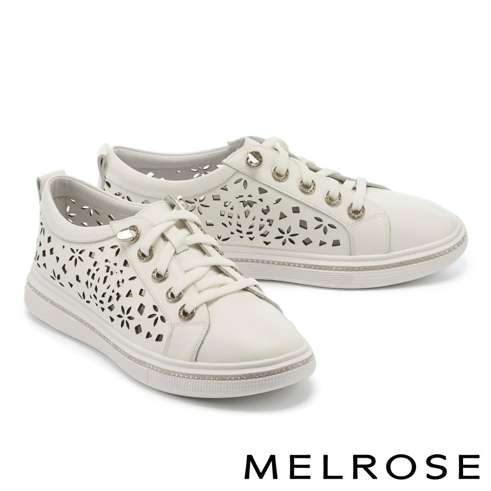 休閒鞋 MELROSE 時尚雕花水鑽全真皮厚底綁帶休閒鞋-白