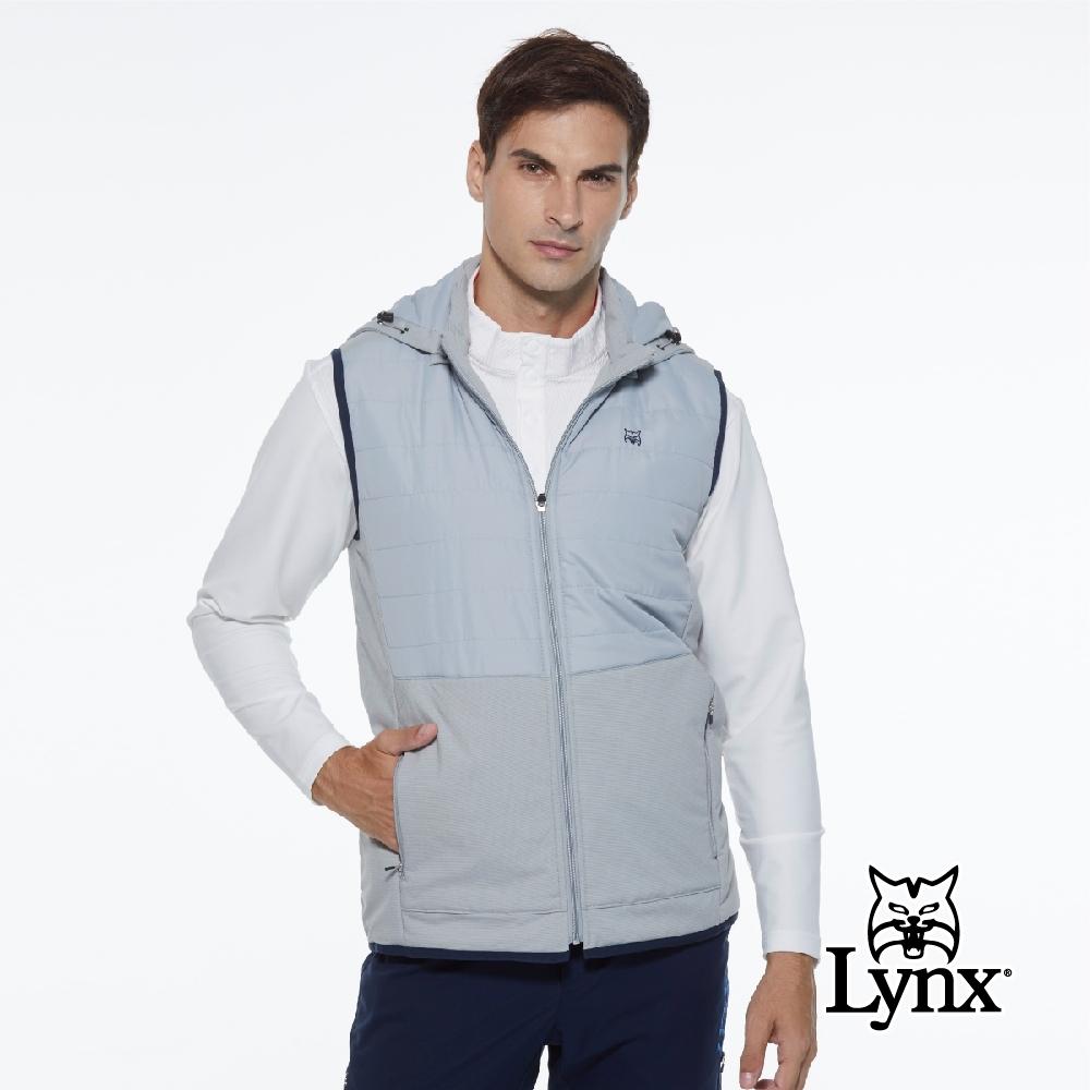 【Lynx Golf】男款防潑水防風保暖鋪棉異材質拼接可拆式連帽無袖背心-灰色