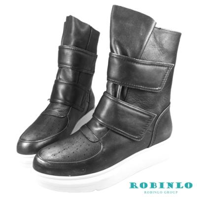 Robinlo 全真皮魔鬼氈休閒平底短靴 錫灰色