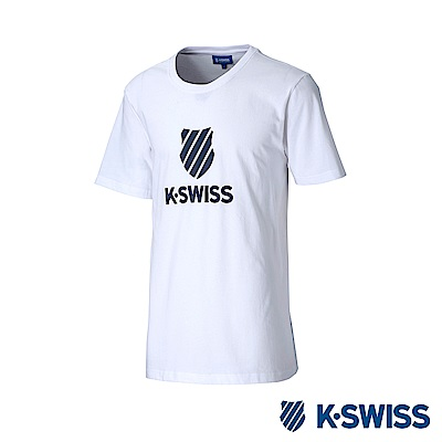 K-Swiss Shield Logo Tee印花短袖T恤-男-白