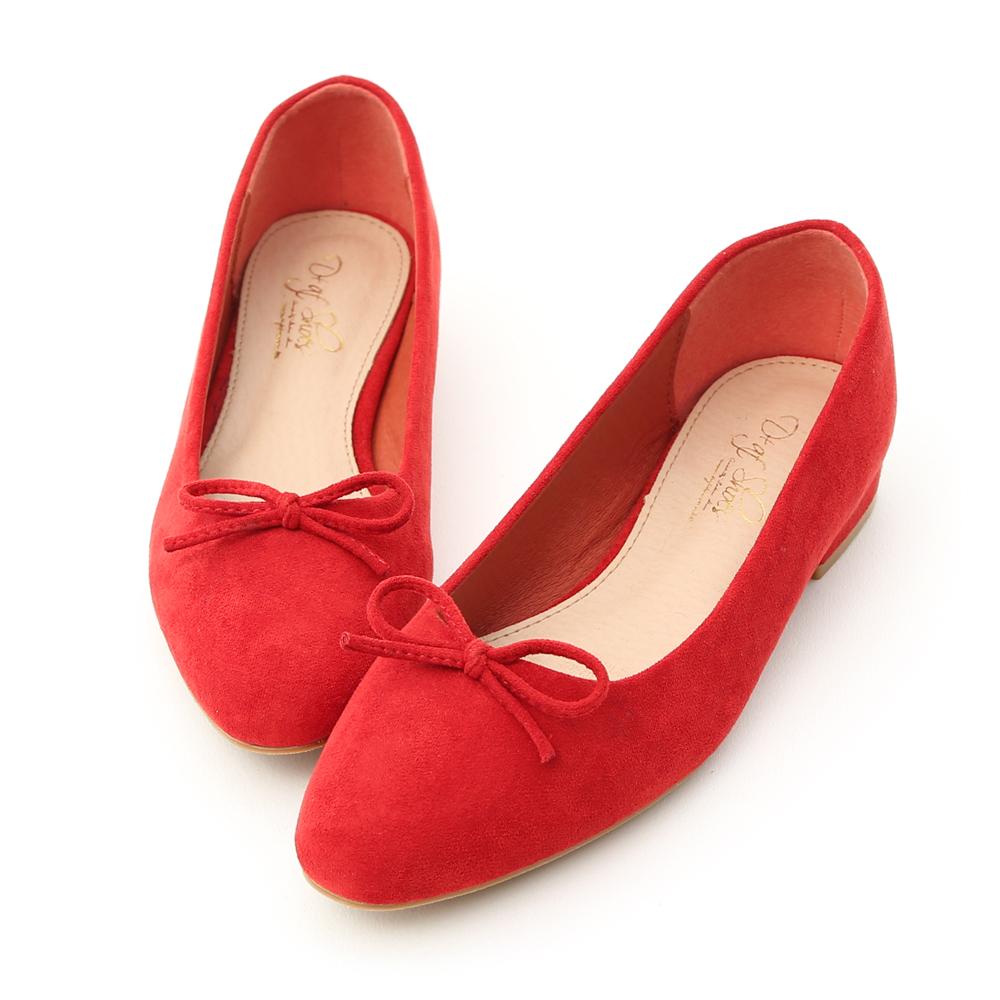 D+AF 芭蕾女伶.小尖頭絨料芭蕾娃娃鞋*紅