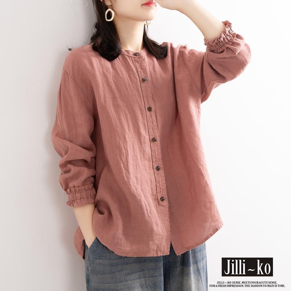JILLI-KO 文藝復古寬鬆棉麻襯衫- 粉紅/黃