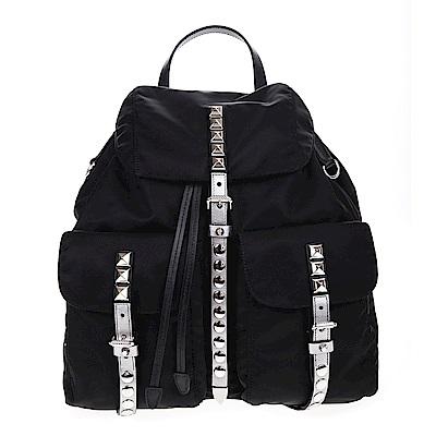 PRADA 新款經典尼龍銀鉚釘銀色皮帶釦雙口袋大型後背包 (黑色)