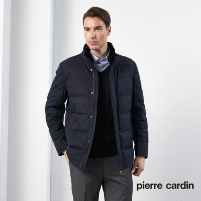 Pierre Cardin皮爾卡登 男裝 進口素材毛領羽絨中長版外套-丈青色(5185701-39)