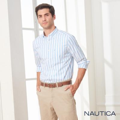 Nautica經典雙直條紋長袖襯衫-天空藍