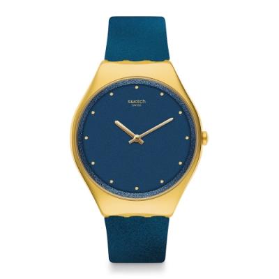 Swatch 超薄金屬手錶 OCEAN SKIN 超薄金屬-海水藍-38mm