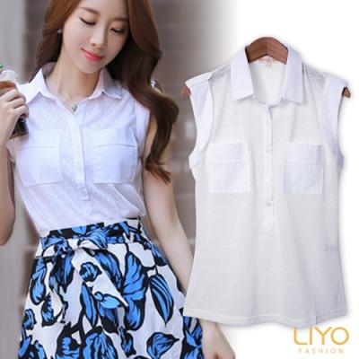 LIYO理優開襟領素面襯衫E725015