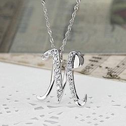 米蘭精品 925純銀項鍊-時尚簡約M英文字母