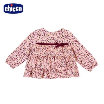 chicco-秋之花園-小碎花荷葉蛋糕長袖上衣