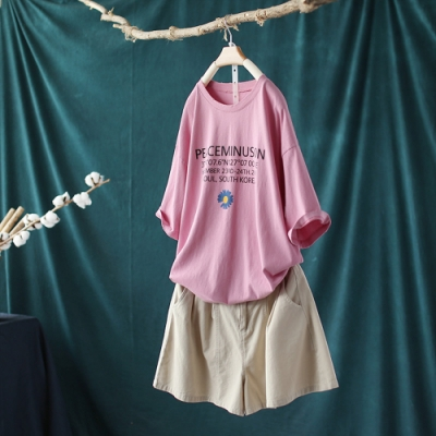 純棉雛菊印花T恤寬鬆休閒大碼韓版破洞短袖上衣-設計所在