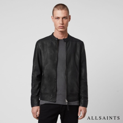 ALLSAINTS COLT 立領金屬釦環羊皮皮衣夾克-黑